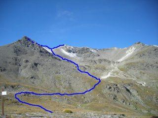 Dal Col del Frejus: a dx la Grand Argentiere, a sx non visibile la Punta Nera