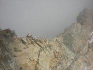 la cresta attrezzata verso il rif. Sella