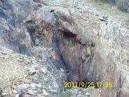 Ingresso alla miniera nel tratto sopra il col Lunelle