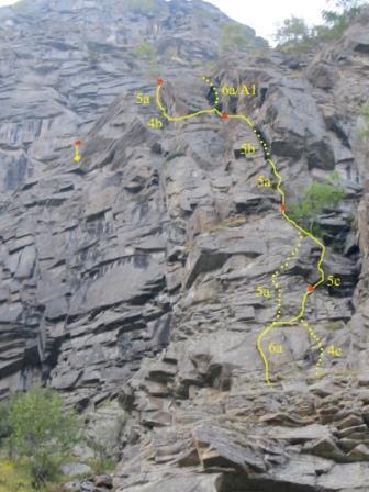Il tracciato della via con le varianti