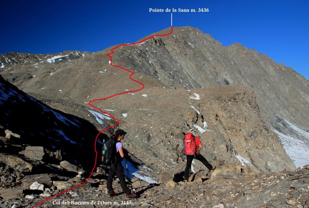 il percorso seguito dal Col Barme de l'Ours per la cima (2-10-2011)