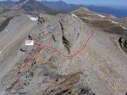 10 - Cresta finale Cima Vallonetto, il passaggio esposto, visto dall'alto