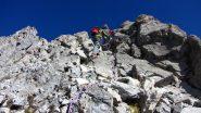 Sandro e Claudio nei passaggi di arrampicata della parte alta della via..non lontani dalla cima (9-10-2011)