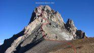 Meyna e tracciato della via di salita dal Col de Viraysse (9-10-2011)