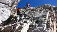 Sandro e Claudio risalgono il camino roccioso finale (variante) (9-10-2011)