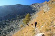 attraversando il pendio erboso verso l'inizio della pietraia (15-10-2011)