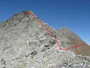 Il colle e parte della cresta percorsa, il Delà in secondo piano
