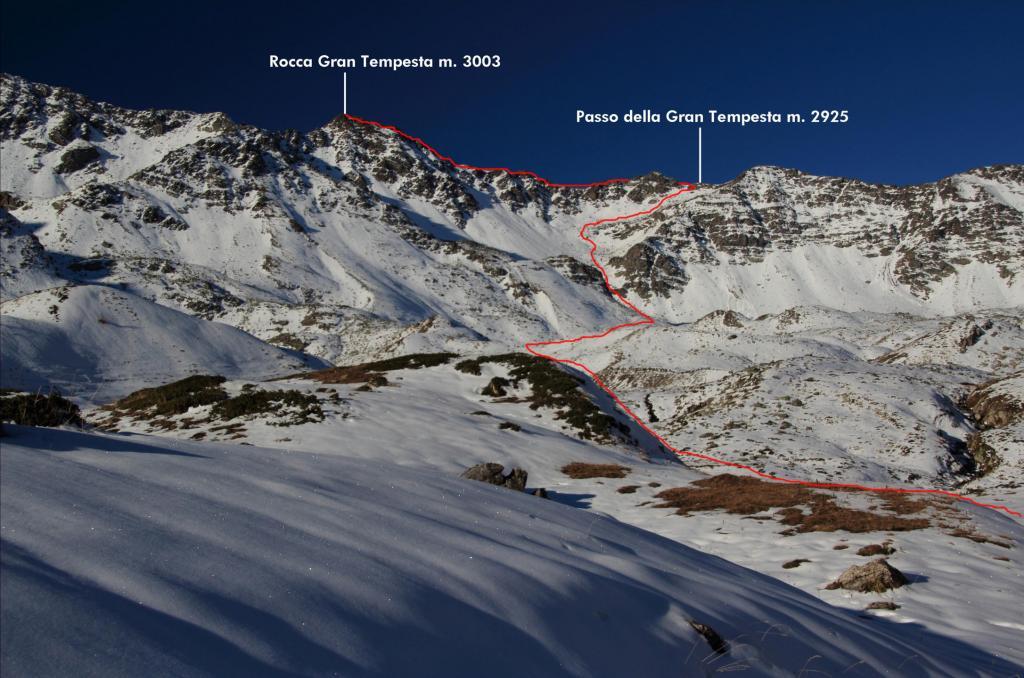il tracciato della via seguita per salire la Rocca Gran Tempesta (30-10-2011)