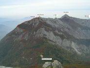 Cima Pissousa vista dal Monte La Piastra - con tracciato del percorso