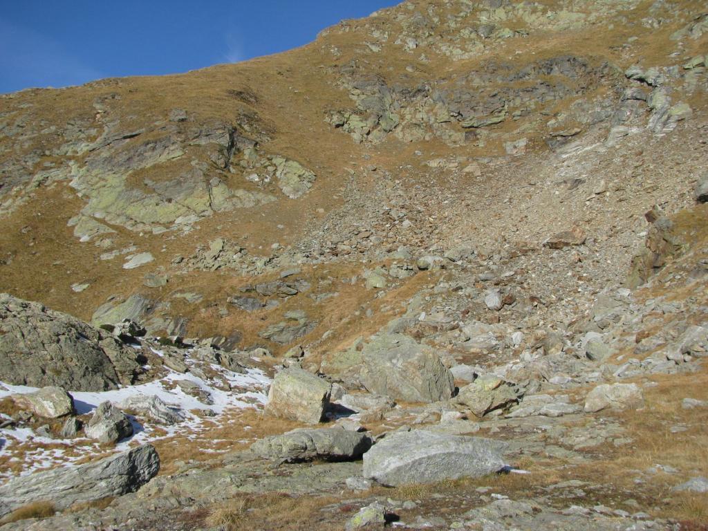 La seconda conca detritica che porta in cresta