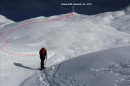 il bel versante Ovest della Cima delle Rossette con il tracciato della via seguita (19-11-2011)