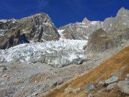 Ambiente. Sulla cima dello sperone alla destra del fronte del ghiacciaio è visibile il Rifugio Boccalatte.