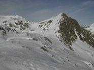 Dorsale sopra la caserma,colletto,cresta sud della vetta;al centro il Colle di Seccia.