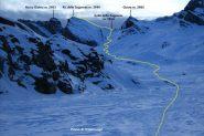 visuale sul Pic delle Sagneres e via di salita dal Piano di Traversagn (10-12-2011)