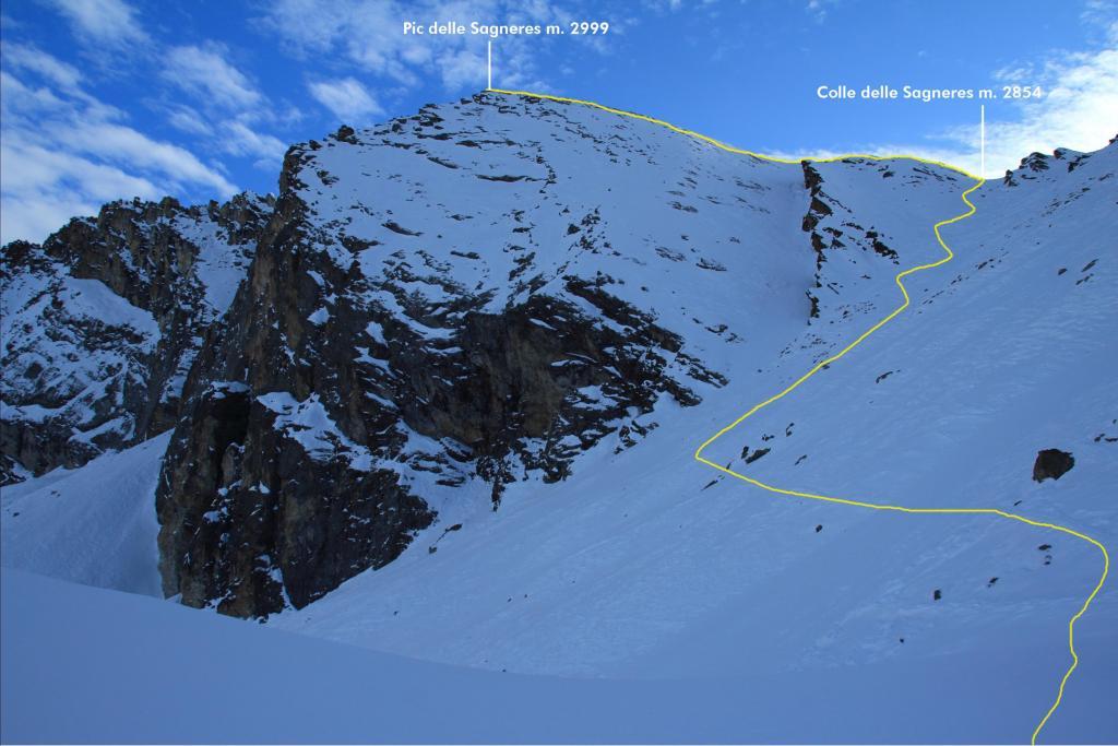 il Pic delle Sagneres e il tracciato della parte alta visto dal colletto dove termina la Costa Sturana (10-12-2011)