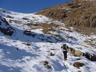 la parte su neve prima dell'uscita in cresta