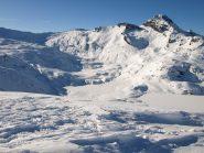 Vista da Monte Rascias: a sinistra sullo sfondo Colle della Balma, a destra Bec Costazza, in basso a destra Lago del Miserin