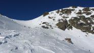 il pendio che porta al colletto di quota 2656 m. (26-12-2011)