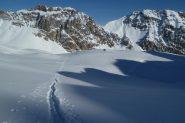 traccia, ombre, neve, monti