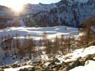 La vallata di Dondena col Sole appena spuntato dalle montagne