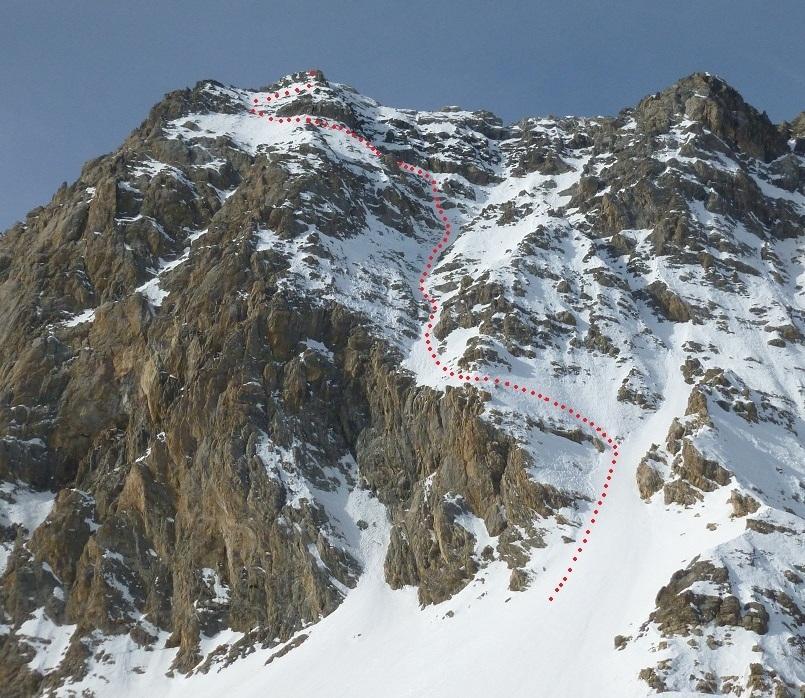 Sautron (Monte) spalla sinistra quota 3130 m Couloir Mara 2012-01-24