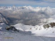 Dalla cima Oberland e itinerario di salita.