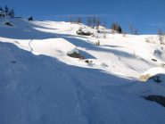 La traccia dello sciatore che ho erroneamente seguito dopo Alpe Carisey