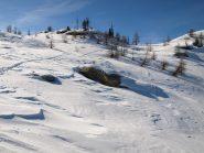 La traccia dello sciatore che ha scollinato verso Borey