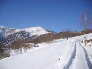 Traccia di salita e Monte Pigna sullo sfondo