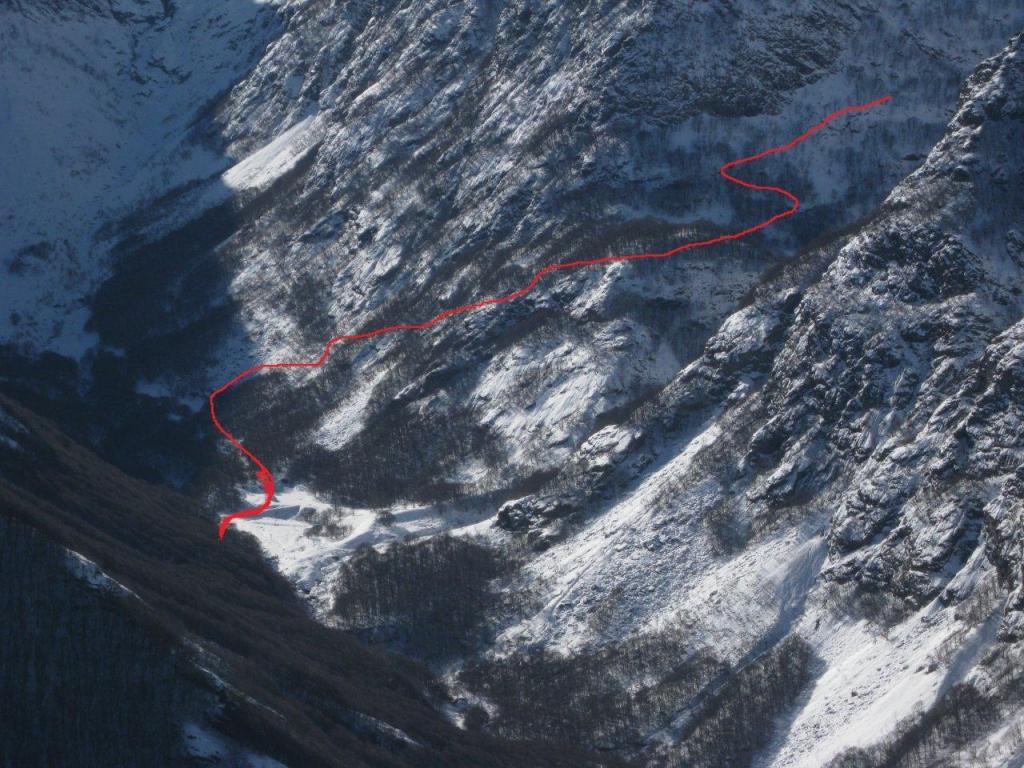 tracciato della parte bassa su sentiero non facile da reperire