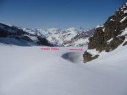 sul ghiacciaio del Source de l'Isere: a destra verso il pendio finale