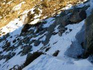 In questo punto mi sono fermato perché il sentiero attraversa questa pietraia in un tratto ripido con buche nascoste