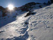 Il tracciato battuto da me la scorsa settimana da Alpe Carisey a Colle Carisey