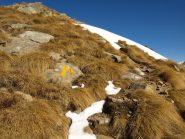 Il sentiero AV1 da Colle Carisey verso Rifugio Coda, al sole con poca neve