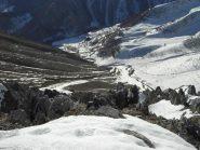 A sud neve continua solo nella gorgia Pianard.