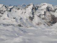Vista Nord da Punta Asgelas: al centro il rifugio Miserin ed il lago omonimo che però non si nota perché coperto da neve
