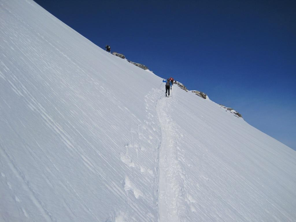 In uscita dal salto del ghiacciaio