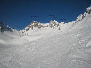 La cima vista dai ripiani superiori del vallone di Tula