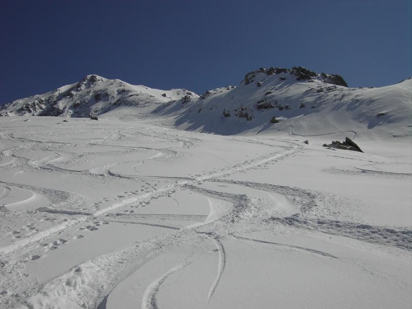 Io sceso per ultimo dopo gli sciatori.