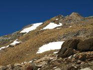 La vetta del Corno Bussola (3023 m), in gran parte senza neve