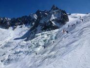 Inizio della seraccata del ghiacciaio del Gigante