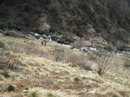 il sentiero che passa sulla dx idrografica del Rio Paglia vista dal sentiero del costone