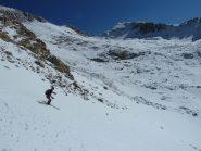Discesa dal Passo Prefouns su bella neve ma poca
