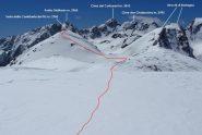 tratto finale della via di salita e panorama osservato dall'anticima (21-4-2012)