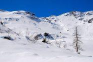 verso il colle del Sabbione, sulla destra l'imbocco per la valletta lunga