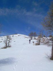 Gli ultimi 300 metri di salita su neve piuttosto compatta.