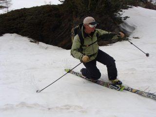 Frank in azione sulla neve marciotta