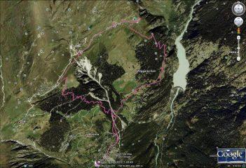 Il percorso visualizzato su Googlearth