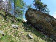 alla sx dell'inconfondibile roccia passa il sentiero o quel che rimane
