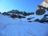 In cima alla Gorgia si vede il Gelas - sulla dx verso la forcella Roccati, sulla sin la nostra destinazione